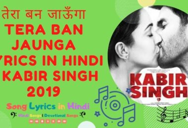 तेरा बन जाऊँगा Tera Ban Jaunga Lyrics in Hindi – Kabir Singh 2019